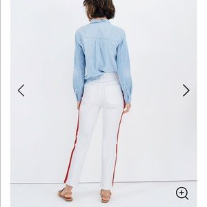 Madewell Stovepipe white jeans tuxedo stripe